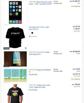 Telefoner med Flappy Bird forhåndsinstallert har mottatt bud helt opp i 99 000 dollar på eBay. Salgsportalen rydder nå aktivt bort disse annonsene, men det er fortsatt tett mellom dem.