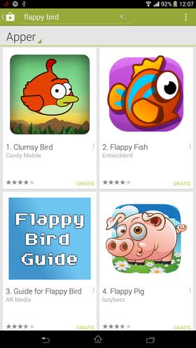 Mange Flappy Bird-kopier har allerede nådd markedet.