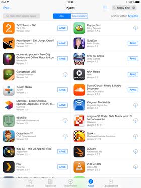 Hvis Flappy Bird er lastet ned med Apple-kontoen tidligere, skjuler den seg også i appoversikten din. Herfra kan den lastes ned som vanlig.