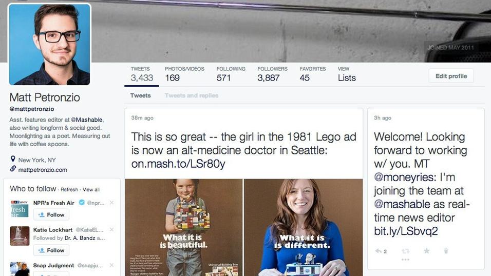 Slik så Mashable-redaktørens «nye» Twitter-profil ut.