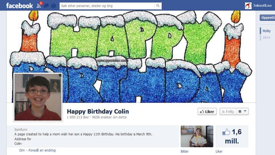 1,6 millioner gratulerer 11-åring på Facebook