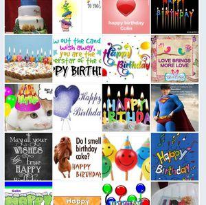 Noen av de mange bursdagskortene som Facebook-brukerne har sendt Colin.