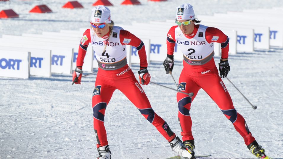 Marit Bjørgen og Therese Johaug satte rekorder i Tele2s nett. Her fra Ski-VM i Oslo i 2011.
