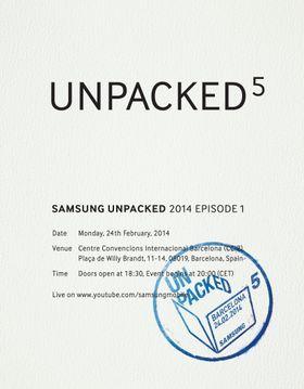 En av innkallingene til Samsungs pressekonferanse i Barcelona.