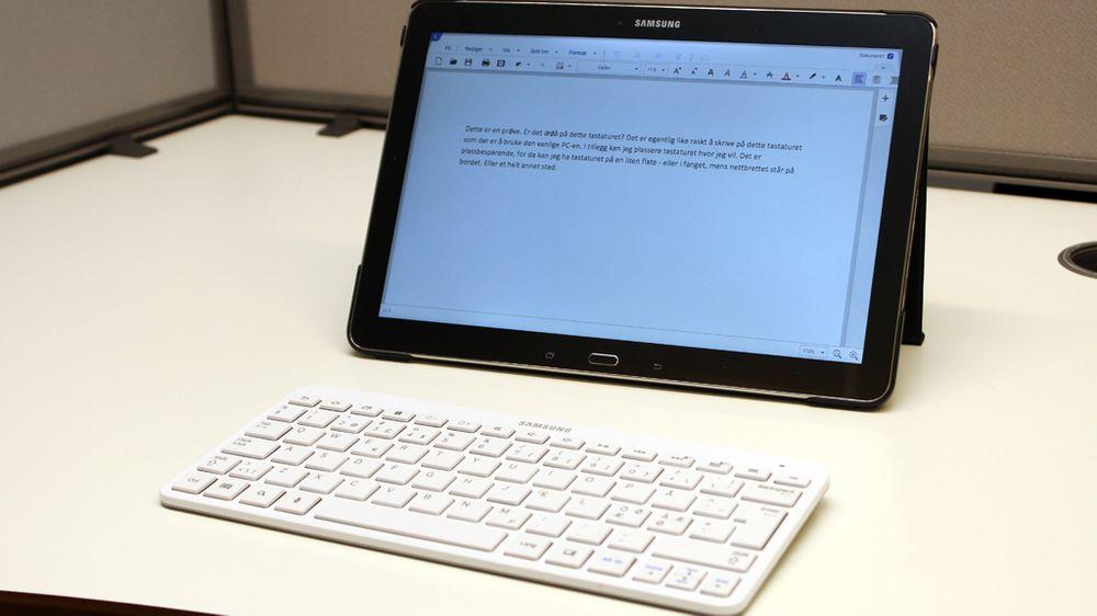 Galaxy Note Pro 12.2 er et stort nettbrett. Bruker du det sammen med et tastatur får du en PC-liknende opplevelse.