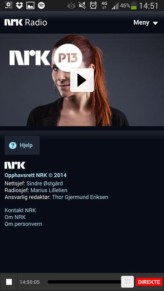 To minutter etterpå, mens jeg jobbet med å få overført forrige skjermdump til skyen, begynte NRK-appen å spille. Det til tross for helt grei 4G-dekning, og ingen problemer med de andre appene.