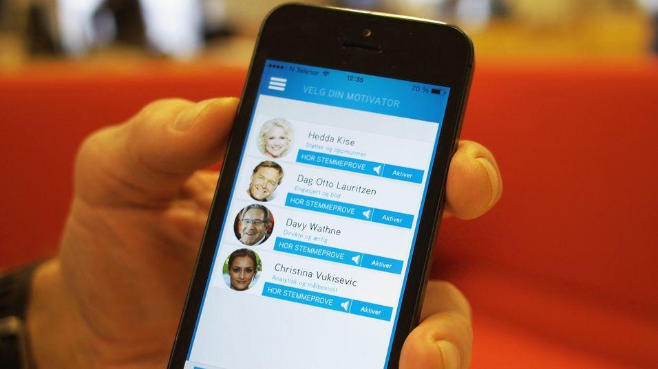 Sporty-appen gir deg muligheten til å velge deg en motivator mellom flere kjente TV2-profiler.