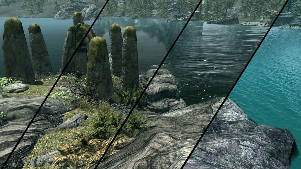 Mellom de fire forskjellige innstillingene våre er det ganske drøye forskjeller, spesielt på hvordan vannet ser ut – men det er de øverste to nivåene som virkelig skiller seg ut. Disse får du ikke med spillet fra fabrikken.