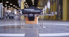 Slik ser de kommende leveringsdronene til Amazon ut.