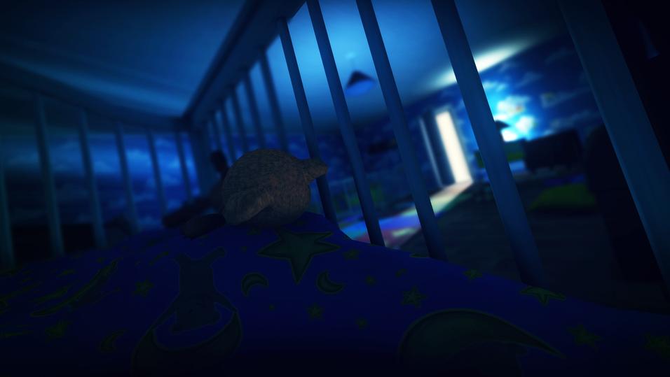 Skjermbilde fra skrekkspillet Among the Sleep der du styrer en liten gutt.