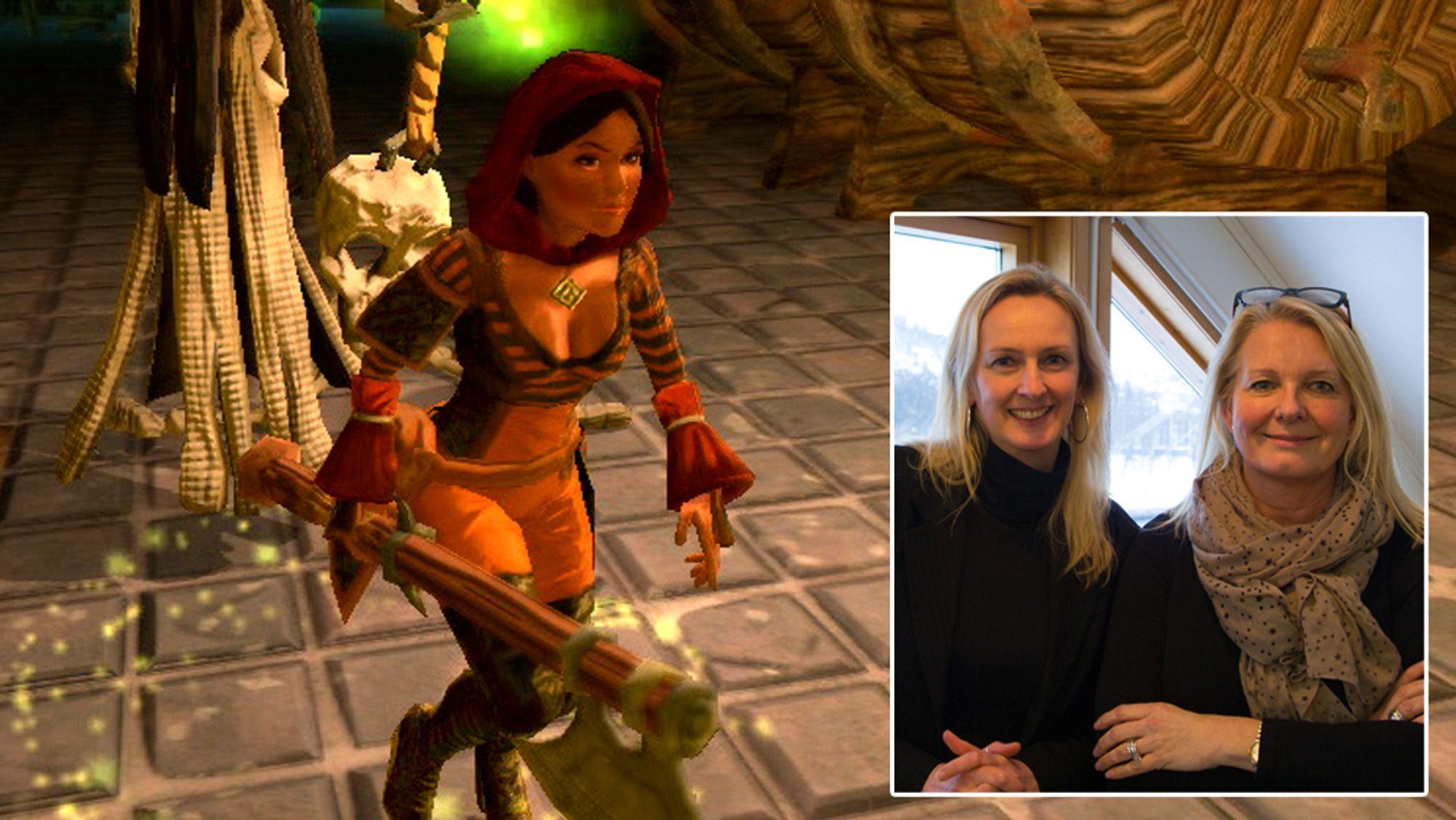Tinka Town (t.v) og Stine Wærn er de to gründerne bak Ravn Studio. Bakgrunnsbildet er fra Tainted Keep.