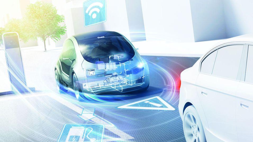 Med biler som finner frem til det du trenger, og holder deg oppdatert på risikomomenter – takket være nettilknytning – mener Bosch at de kan gjøre trafikkflyten langt enklere.
