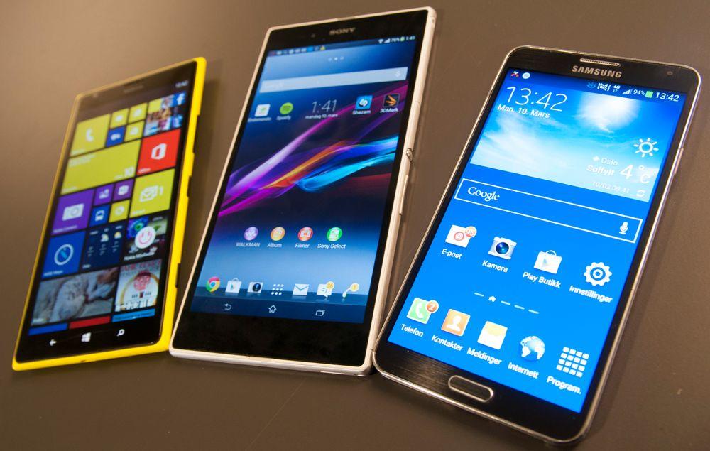 Tre giganter. Fra venstre; Nokia Lumia 1520, Sony Xperia Z og Samsung Galaxy Note III.