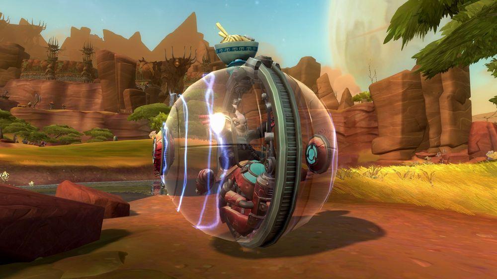 En hamsterball-motorsykkel er et av fremkomstmidlene du kan få i Wildstar. (Bilde: Carbine Studios/NCSoft).