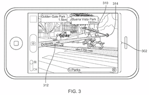 Denne skissen fra en patentsøknad fra Apple viser bruk av «augmented reality», eller «utvidet virkelighet».
