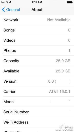Fra innstillingsmenyen i iOS 8.