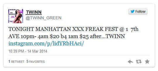 Leietaker inviterte til XXX Freak Fest via Twitter.