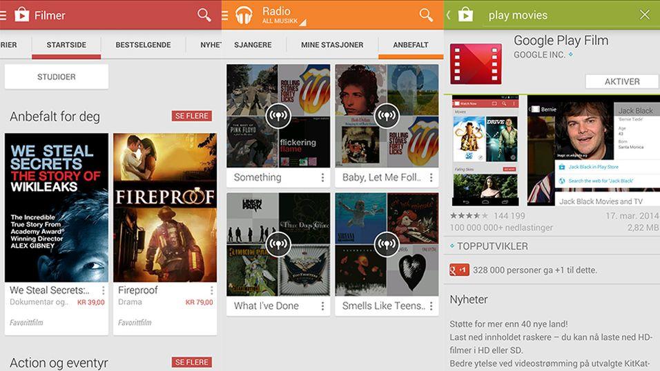 Nå får du Google Play Film og Musikk på mobilen din
