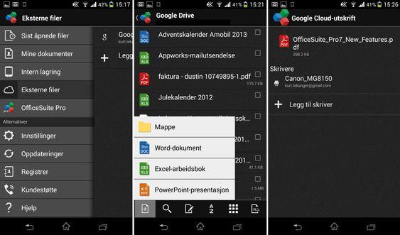OfficeSuite kan hente dokumenter fra skylagringstjenester som Google Drive, og du kan skrive ut via Google Cloud Print.