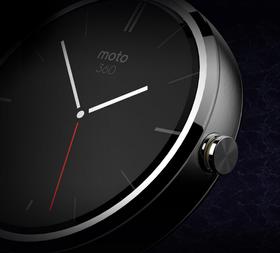 Nærbilde av Moto 360. Klokken skal få  et svært ekslusivt uttrykk.