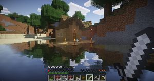 Minecraft med noen grafiske modifikasjoner på PC. (bilde: Gamer.no).