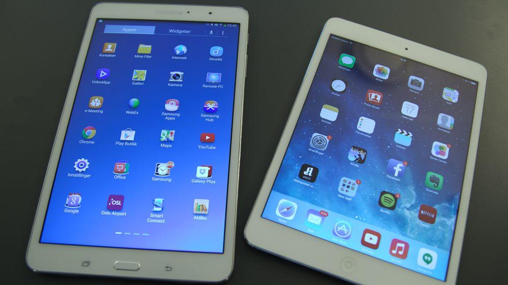 Tab Pro 8.4 til venstre, iPad Mini 2 til høyre.