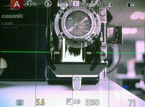 Her viser Panasonic GH3 et sanntidshistogram mens du tar bilder.