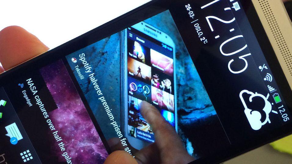 Slik ser startmenyen Blink Feed ut på HTC One.