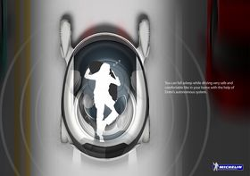 Bilen sett ovenfra. Her illustreres det også hvordan man kan ligge inne i kjøretøyet for å hvile.