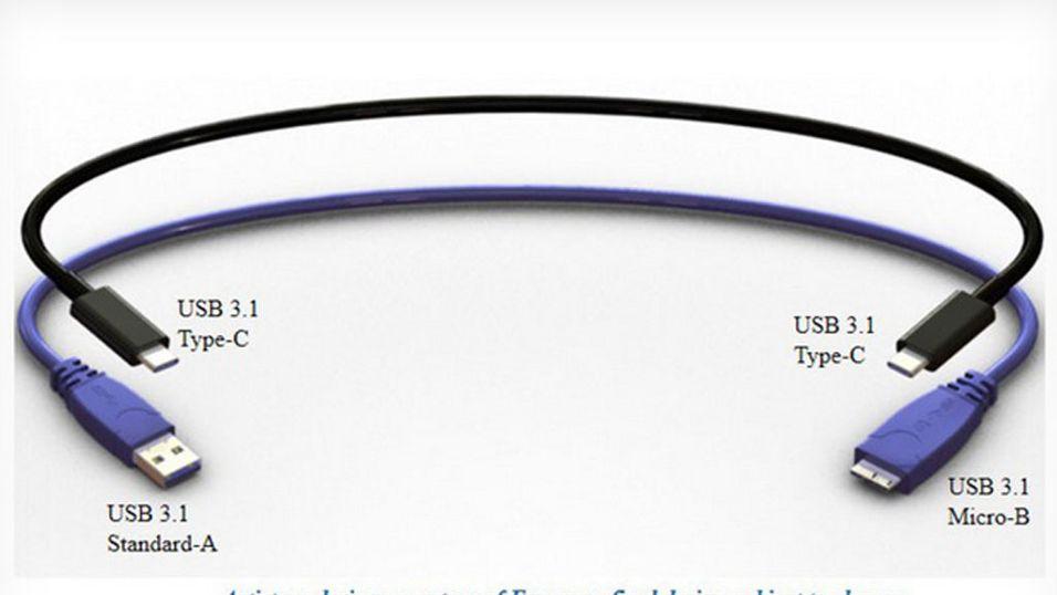 USB-kabelen som går begge veier kommer