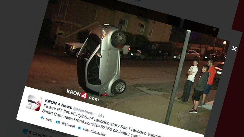 Tipper Smart-biler på hodet