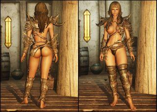 Remodeled Armor CBBE gjør at rustningene viser mer hud. (Bilde: Nexusmods.com).