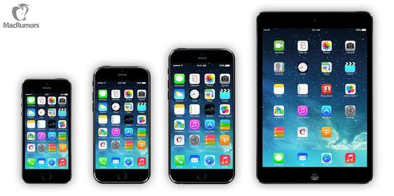 "Fra venstre: iPhone 5s (4""), iPhone 6 (4,7""), iPhone 6 (5,7""), iPad Mini (7,9"")."