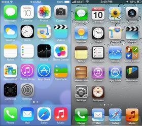 Her er de to siste versjonene Apples operativsystem for mobiler, iOS, stilt opp mot hverandre. iOS 6 til høyre, iOS 7 til venstre.