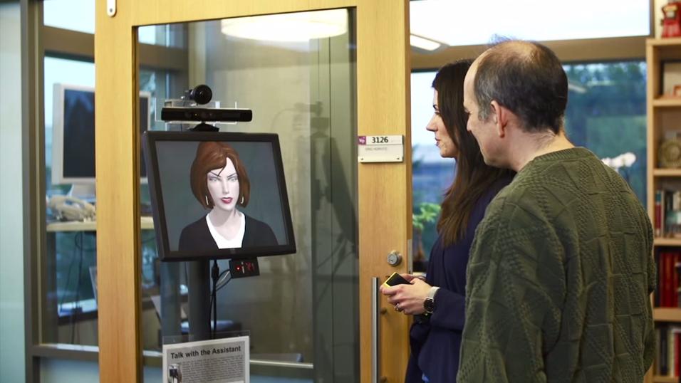 Her kommuniseres det med den virtuelle sekretæren  «Monica».