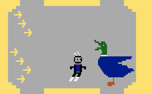 Homebrew-spillet Duck Attack for Atari 2500.
