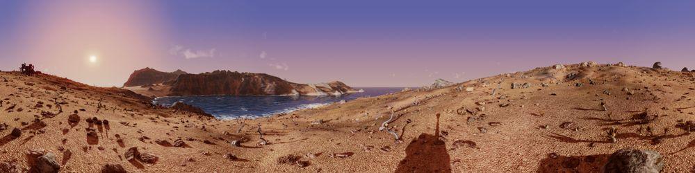 Skyggene ser rare ut fordi bildet dekker 360 grader og du dermed både ser foran og bak roveren.