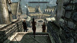 Har du installert Prison Overhaul-modden vil ditt opphold i kasjotten inkludere å bli marsjert ut til offentlig avstraffelse. (Bilde: Loverslab.com).
