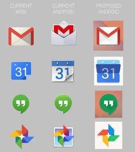 Denne oversikten viser dagens Android-ikoner og de kommende, side om side. Gå til Androidpolice for å se den fulle oversikten.