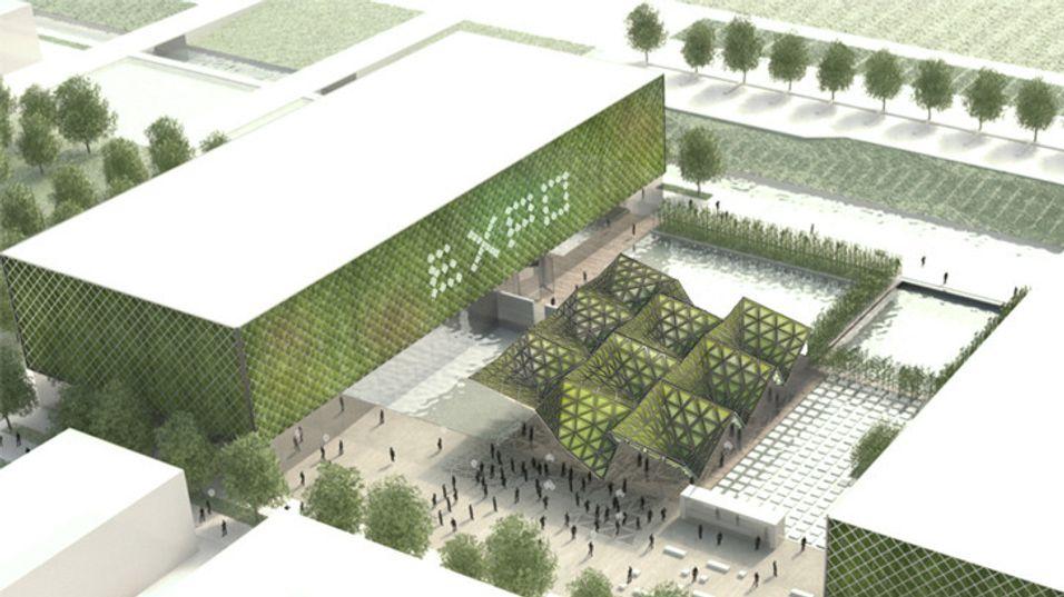 """Konseptbilde av hvordan en slik """"skog"""" skal kunne intereres i et boligområde."""