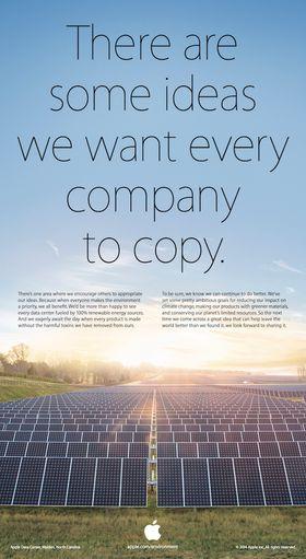 Slik ser Apples Earth Day-annonse ut. Apple og Samsung ligger stadig i en evigvarende patentstrid.