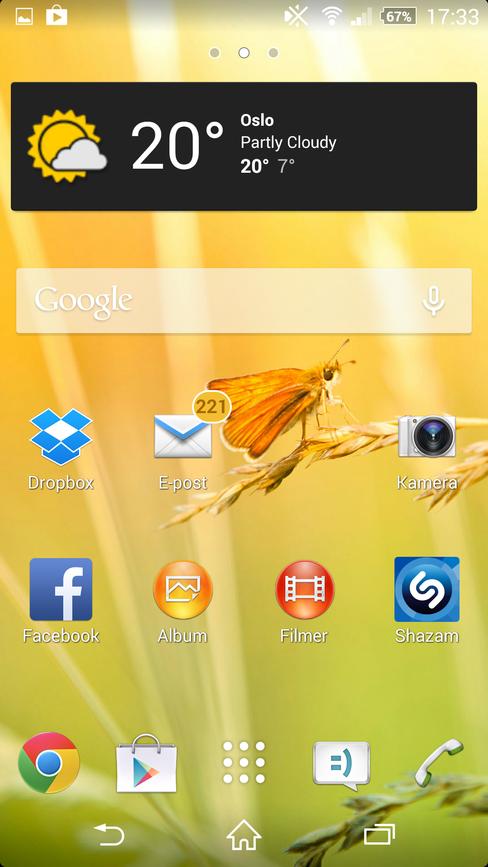 Hjemmeskjermen på Xperia Z2 ser ut omtrent slik vi er vant til på Android.