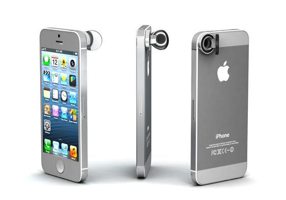 Slik ser Peek-i-objektivet ut når det er festet på en Apple iPhone.