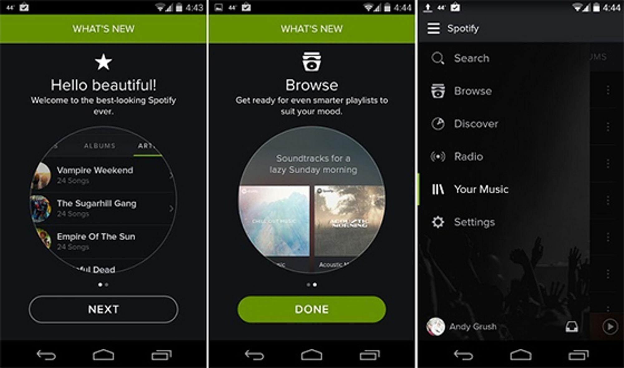 Slik ser nye Spotify ut på Android.