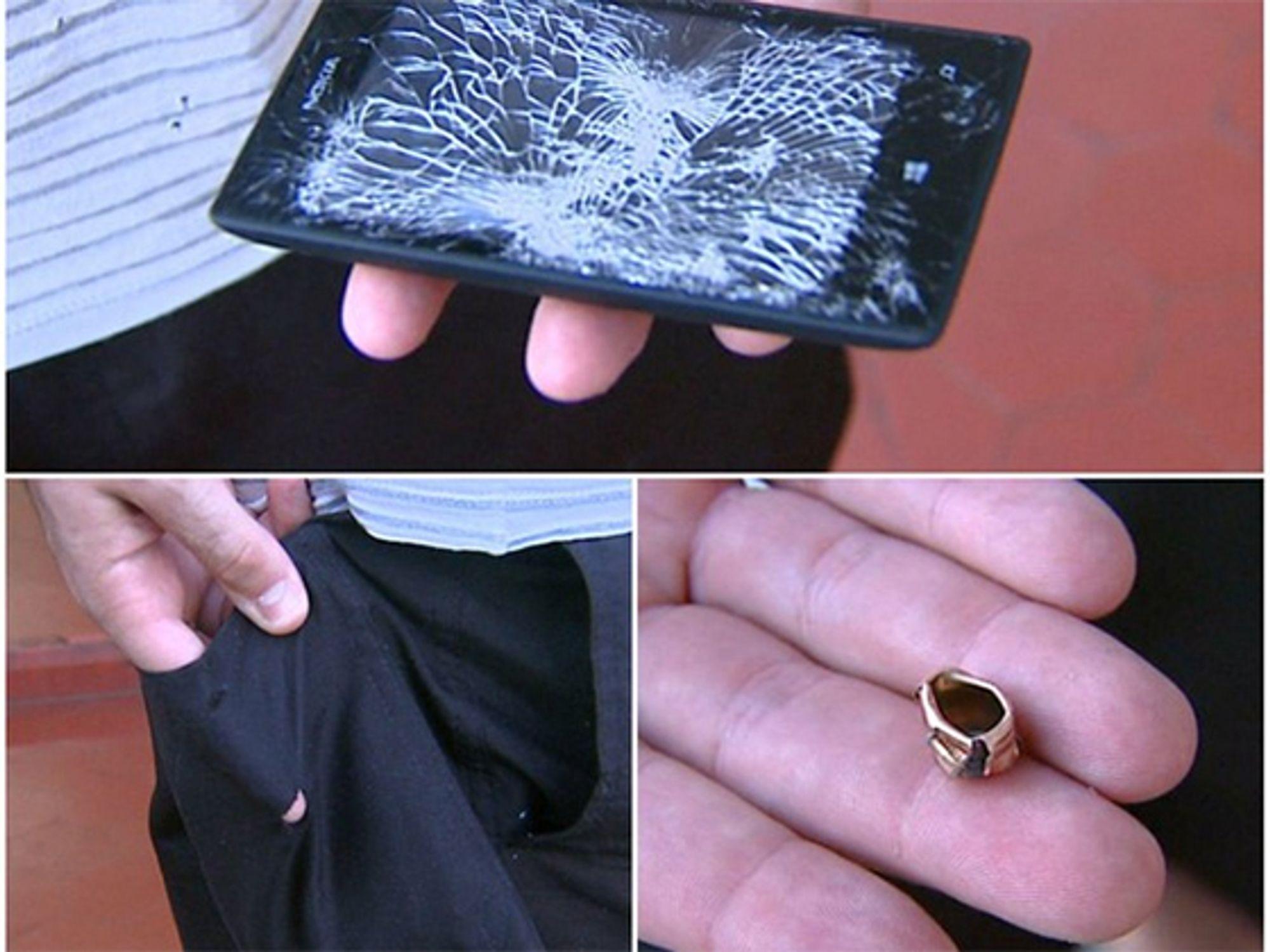 Telefonen overlevde sannsynligvis ikke, men reddet muligens et liv.