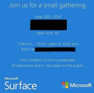Microsoft har sendt ut denne invitasjonen til et Surface-arrangement den 20. mai.
