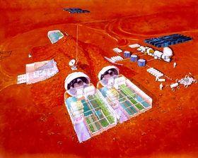 Konsepttegning av NASA. Her et overblikk over to større drivhus.