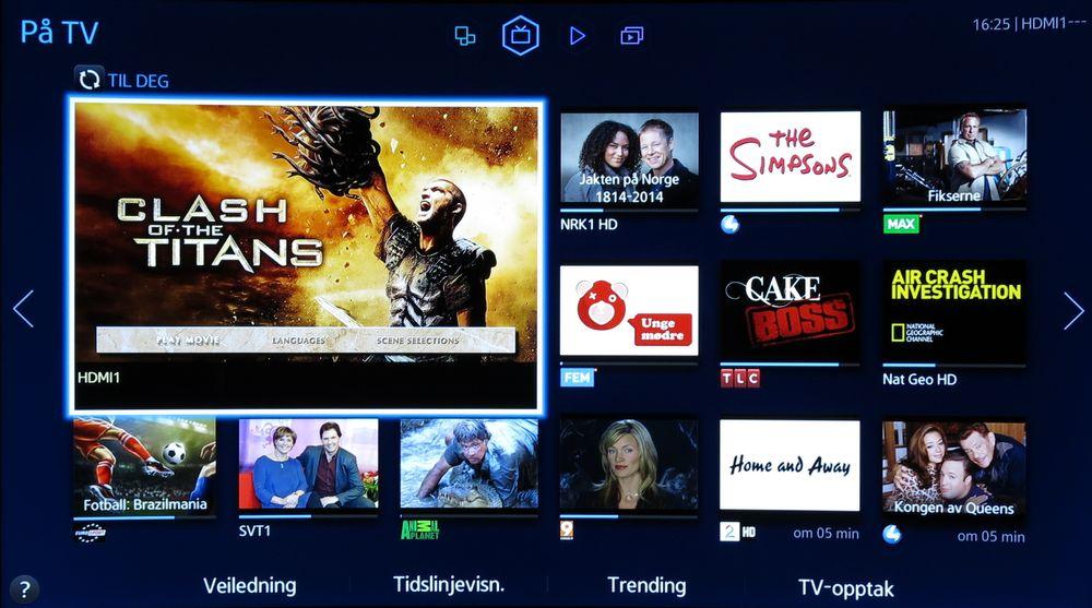 På TV-siden viser små bilder av hva annet som vises på de ulike kanalene. .