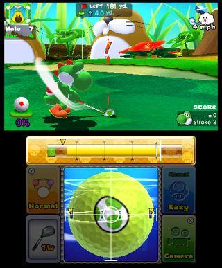Du kan selv bestemme hvor mye skru du skal ha, ved å trykke på ballen. (Bilde: Camelot/Nintendo).