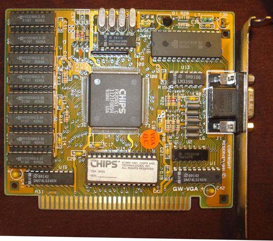 Et VGA-kort basert på C&T sine brikker, som passet i ISA-spor – langt mer høyteknologisk enn de tidlige EGA-kortene, men produsert etter samme mal: Noen andre fikk ta seg av kortdesignen.